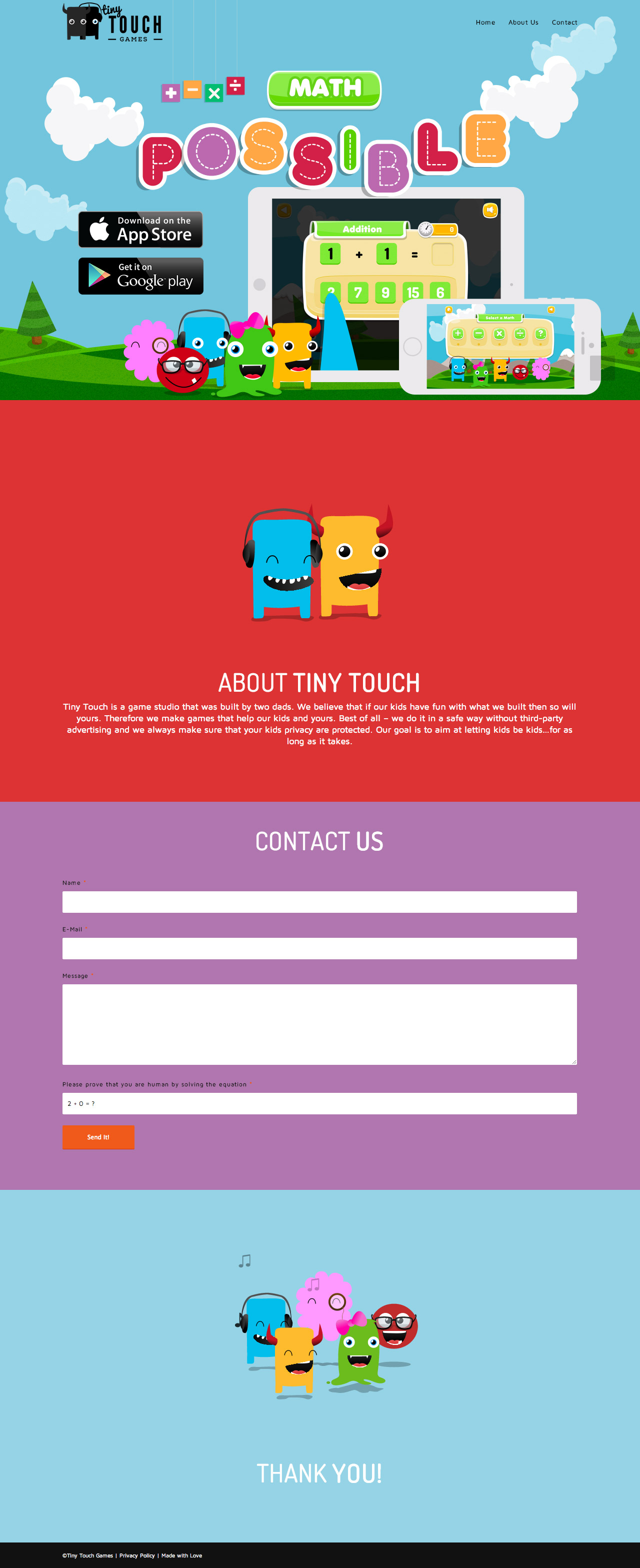 Tiny Touch Games Website Screenshot