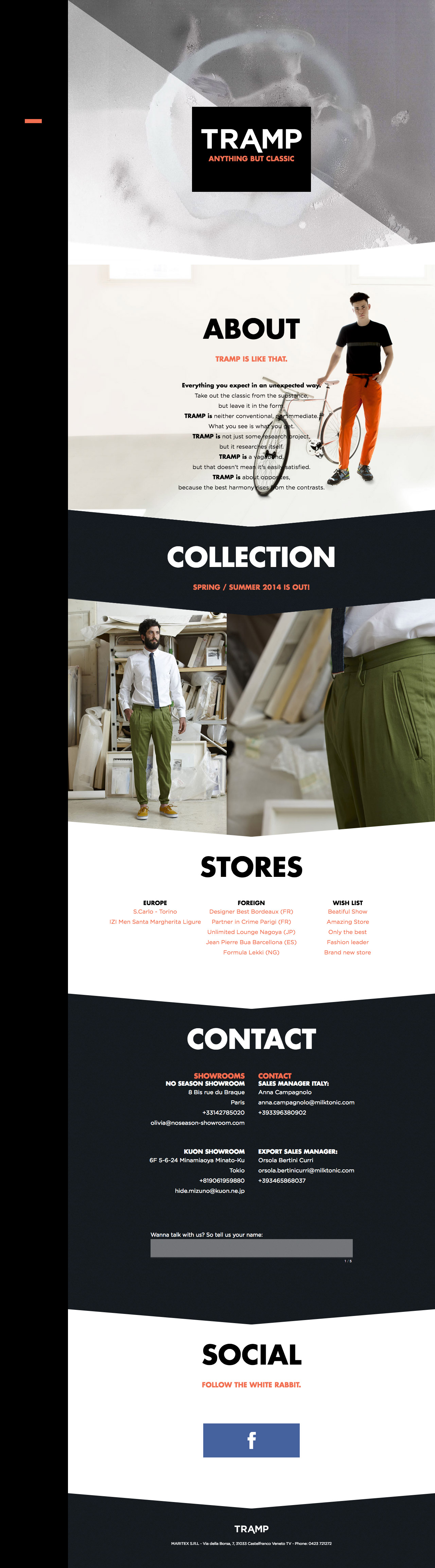 Tramp Trousers Website Screenshot