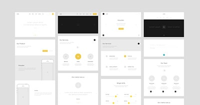 One Page Website Wireframes by Nelson Noa