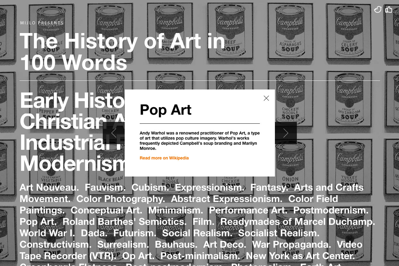 History of Art in 100 Words Website Screenshot