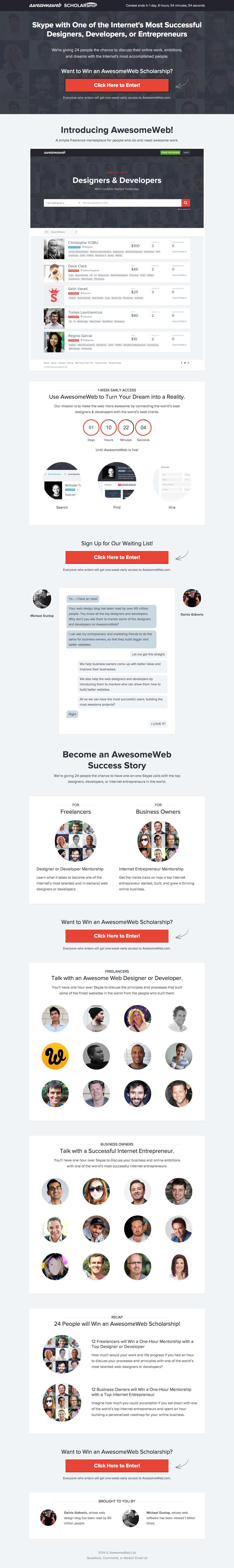 AwesomeWeb Scholarship Website Screenshot