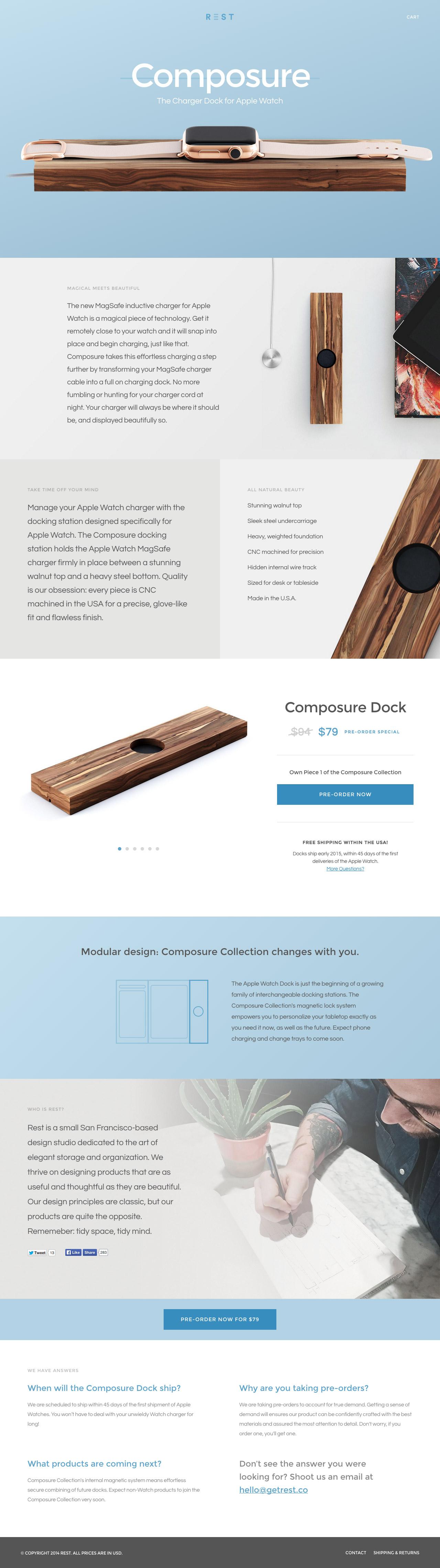 Composure Dock by Rest Website Screenshot