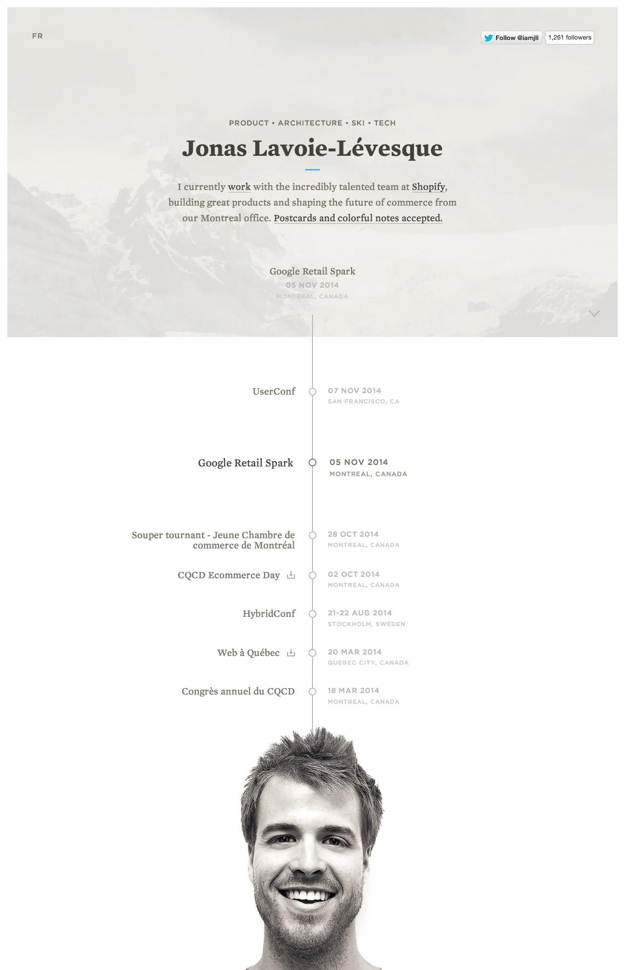 Jonathan Lavoie-Levesque Website Screenshot