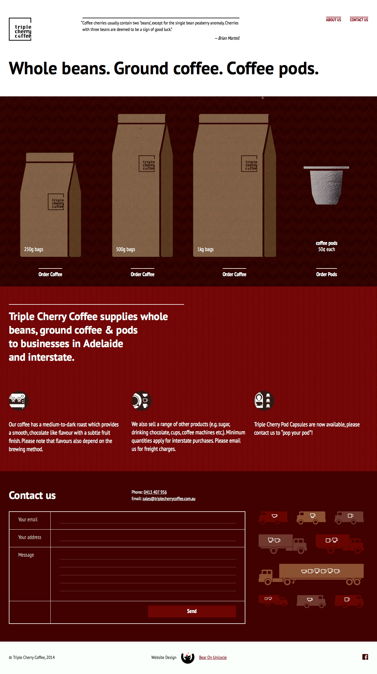 Triple Cherry Coffee Website Screenshot