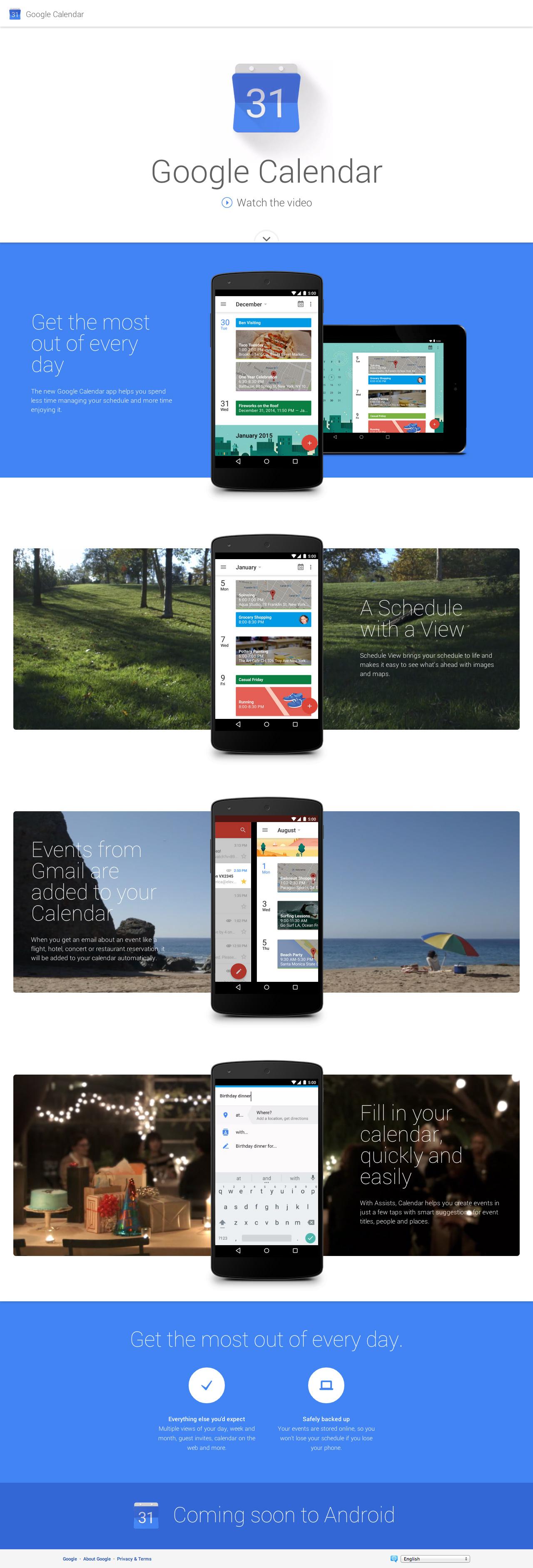Google Calendar Website Screenshot