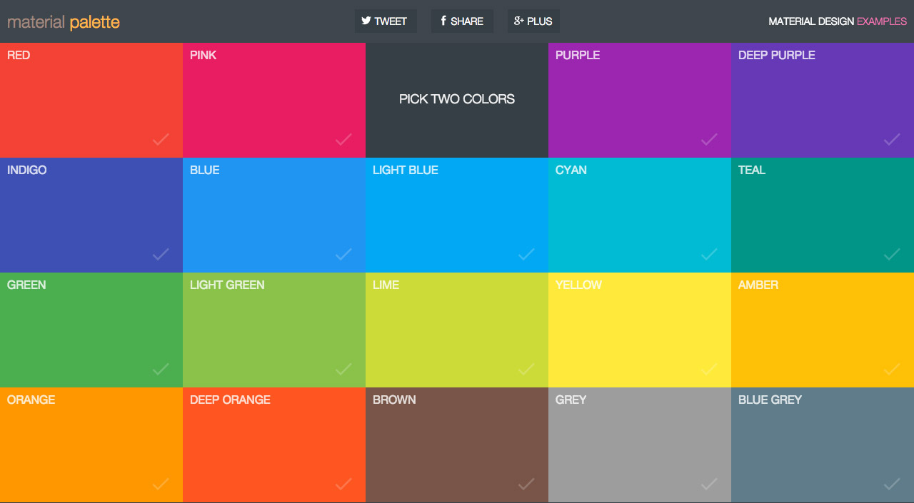Material Palette Website Screenshot