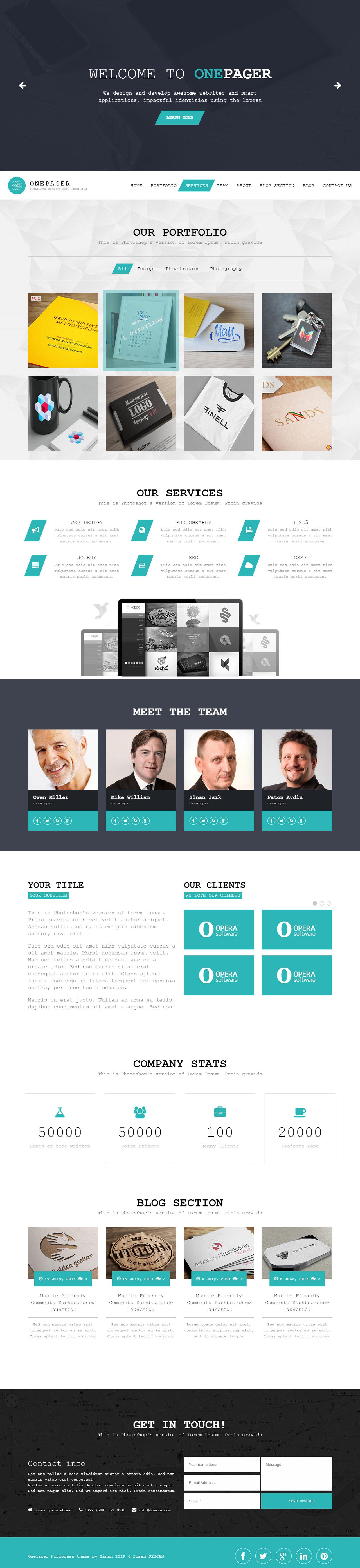 OnePager Website Screenshot