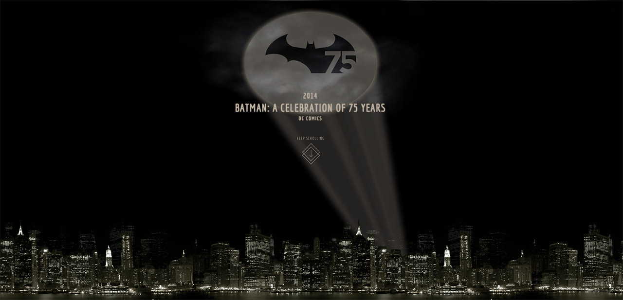 75 years of Batman Website Screenshot