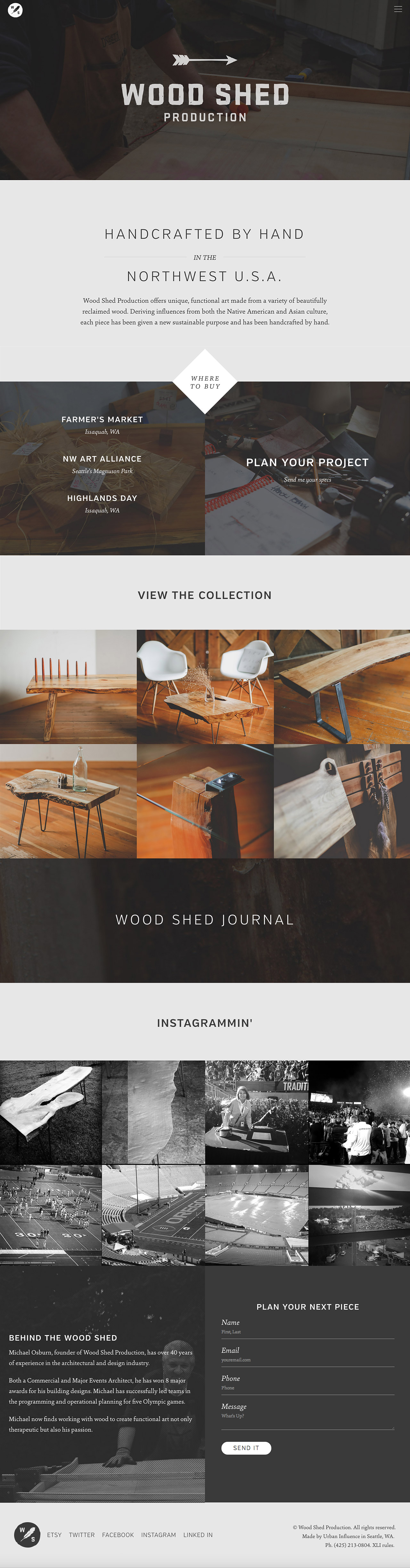 Wood Shed Production Website Screenshot