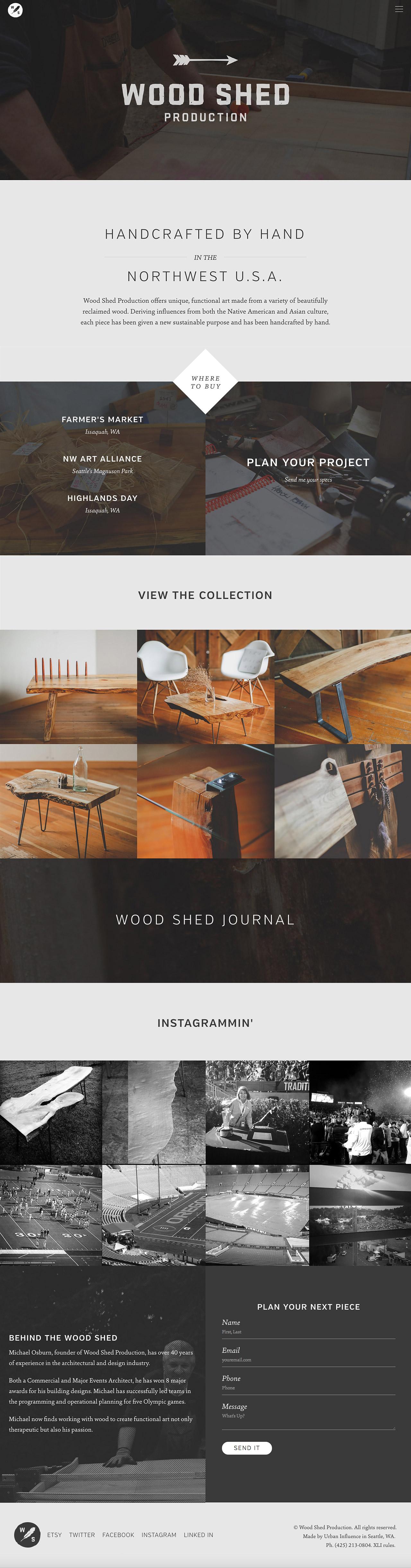 Wood Shed Production Website Screenshot