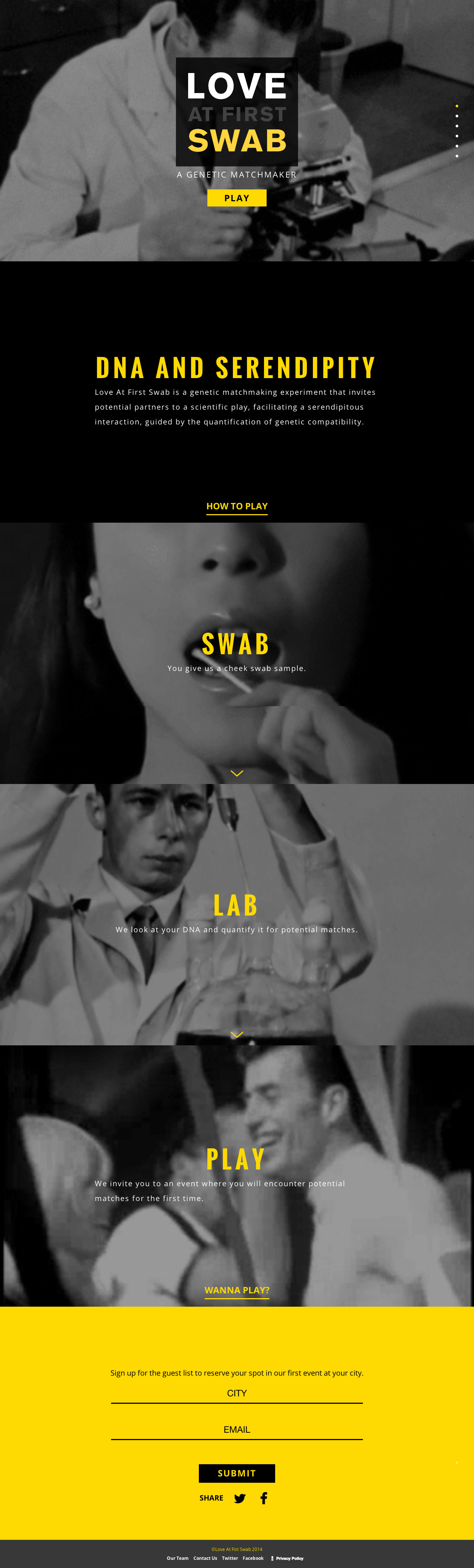 Love At First Swab Website Screenshot