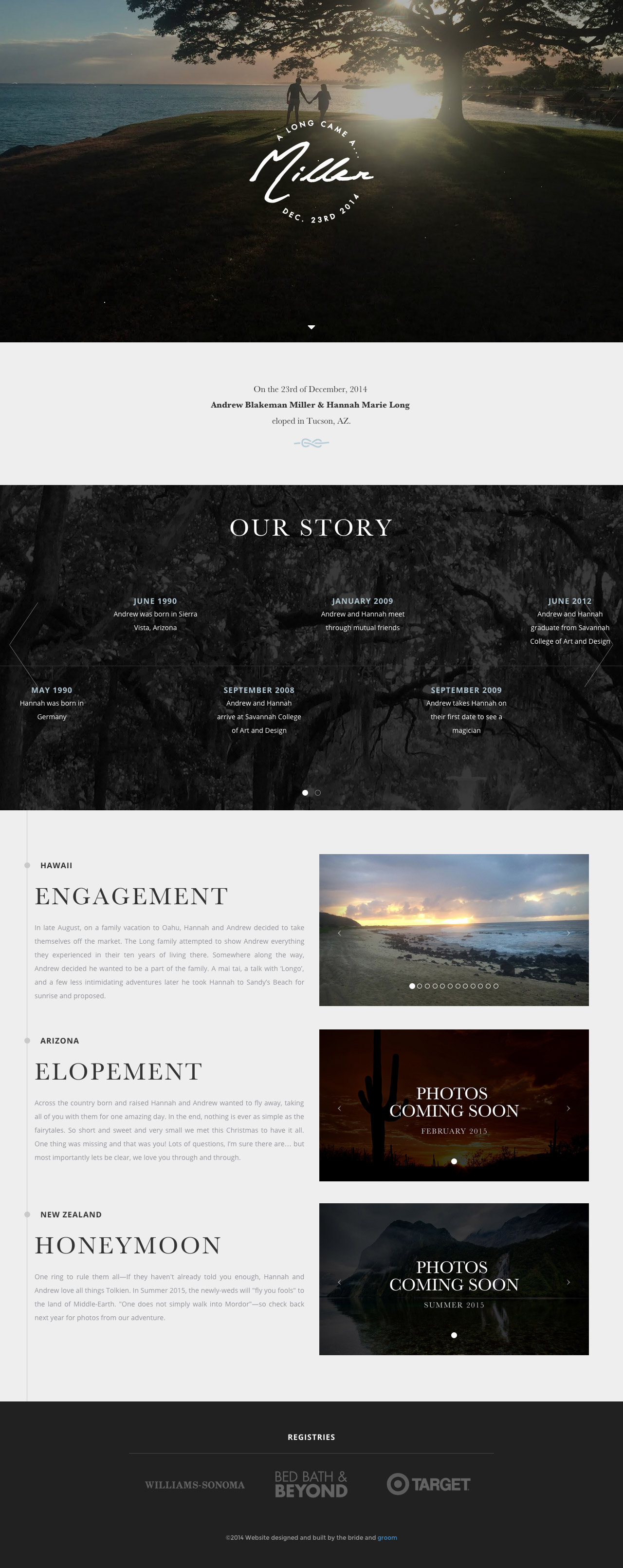 Miller Elopement Website Screenshot