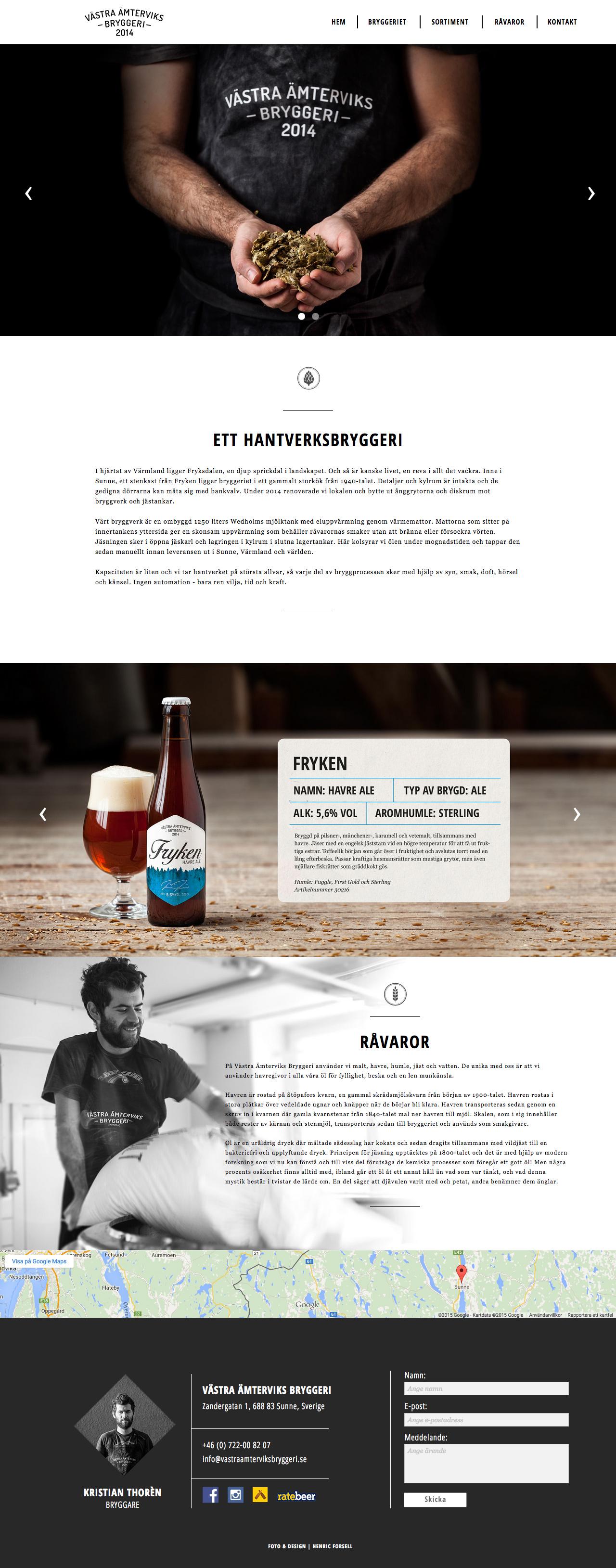 Västra Ämterviks Bryggeri Website Screenshot