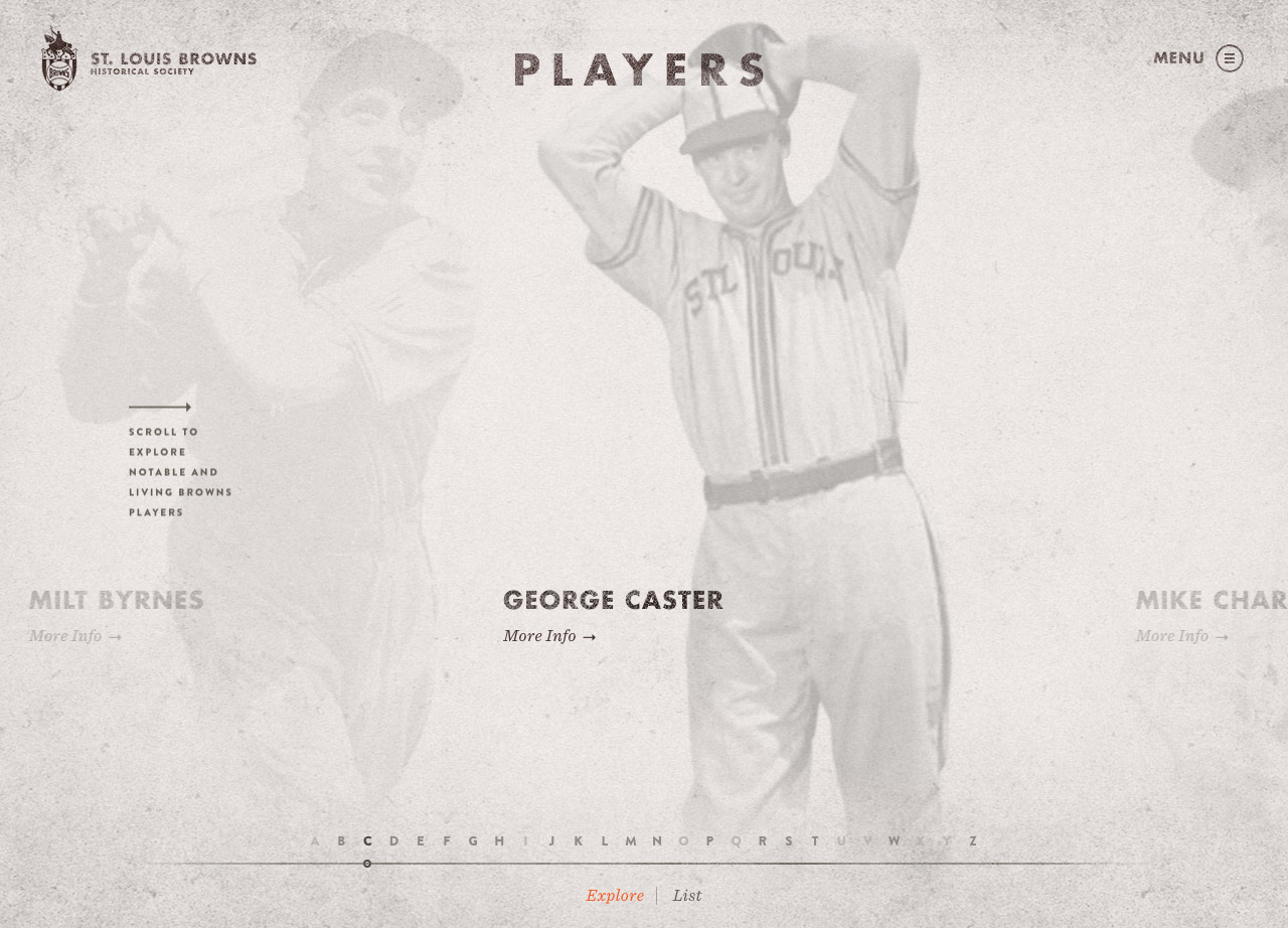 St. Louis Browns Historical Society Website Screenshot