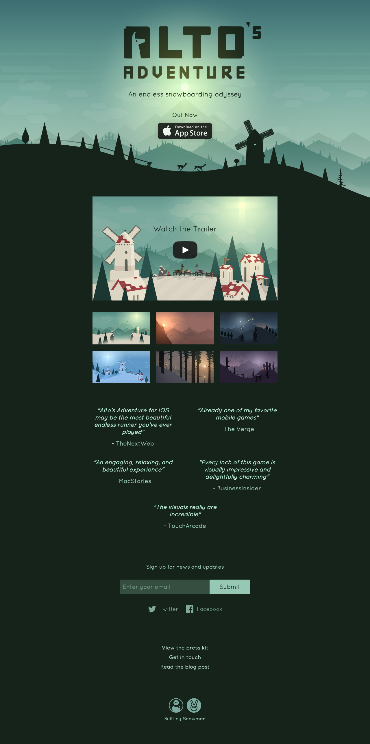Alto's Adventure Website Screenshot