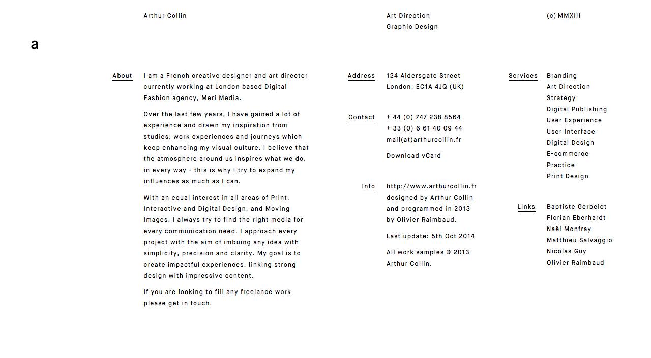 Arthur Collin Website Screenshot