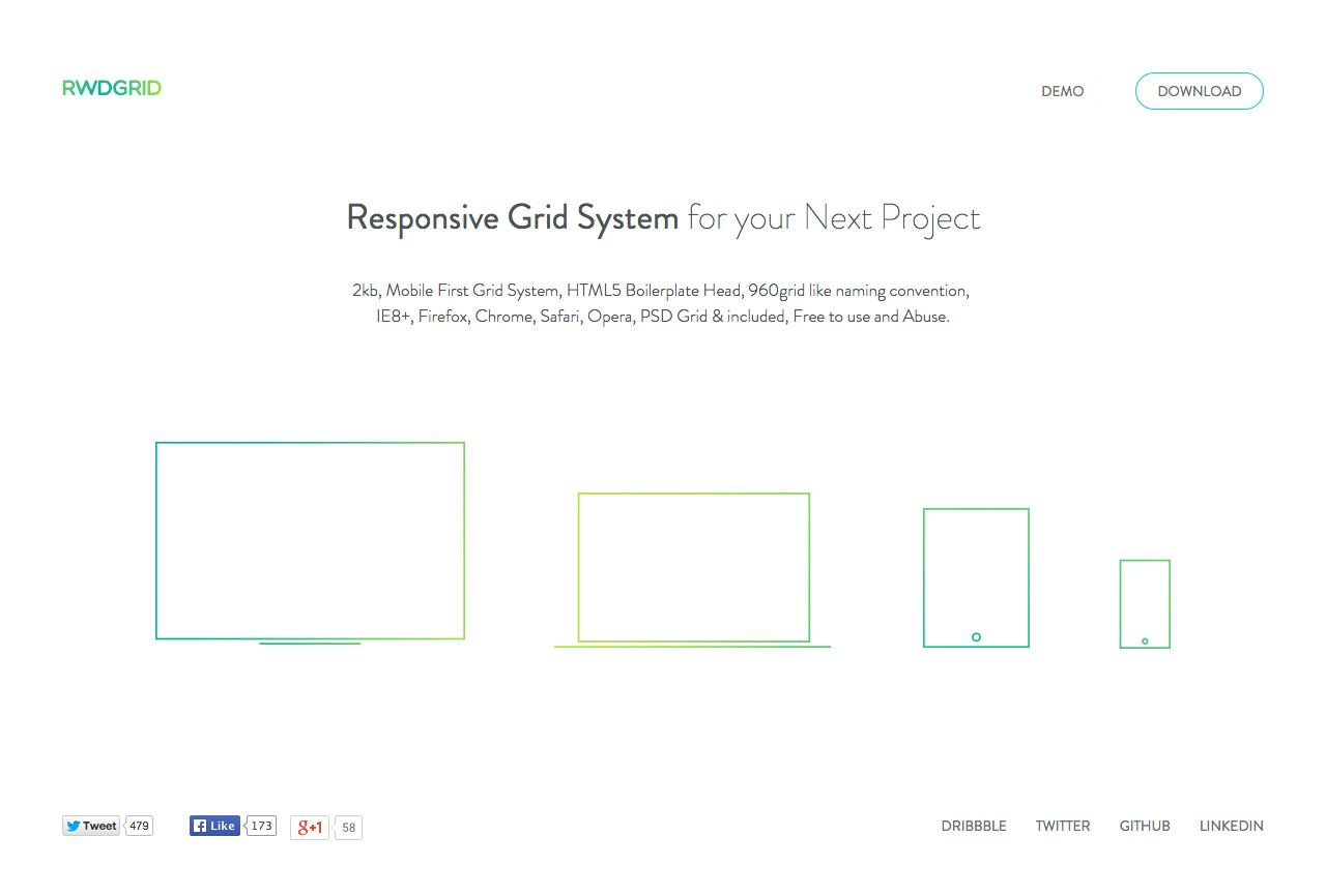 Responsive Grid System Website Screenshot