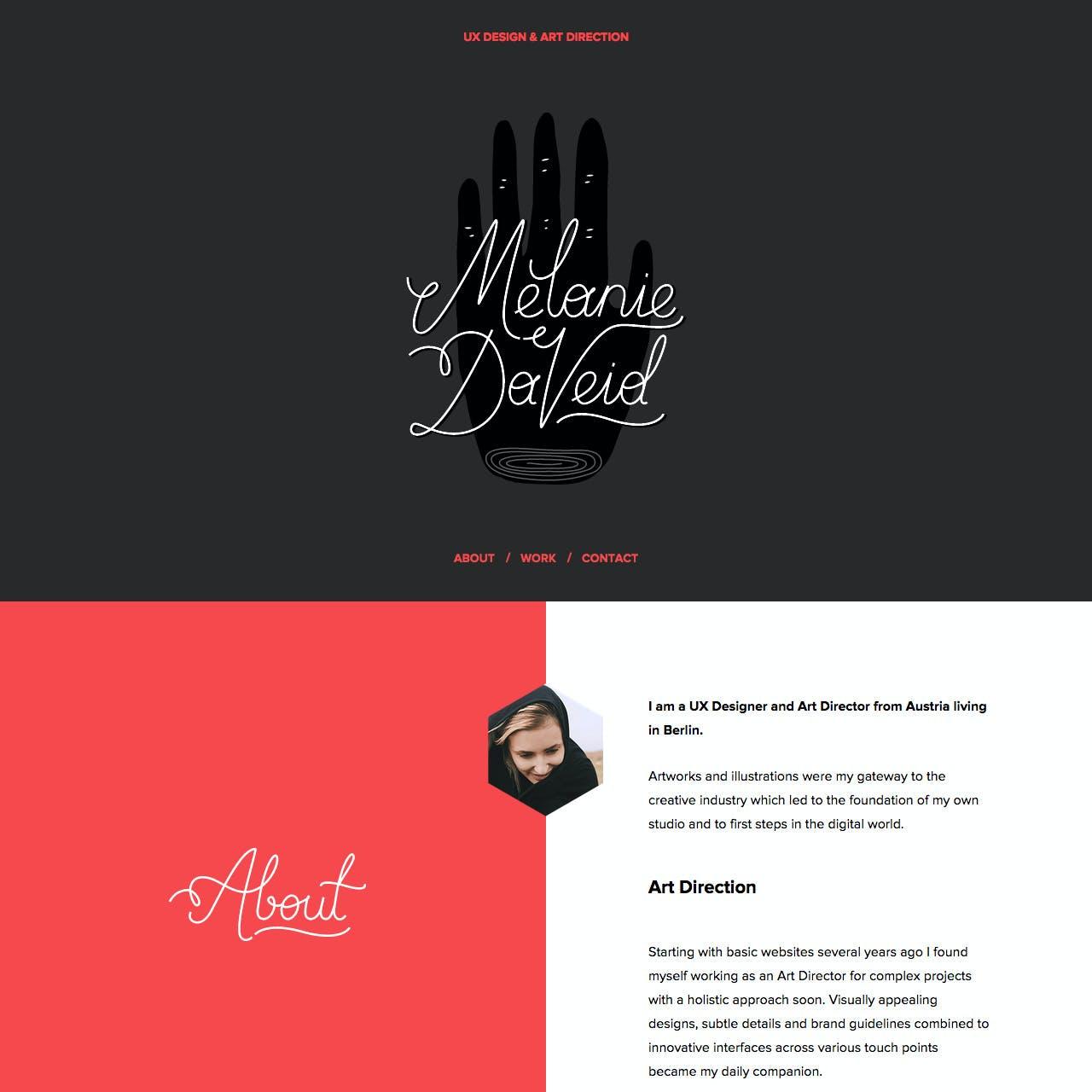 Melanie Daveid Website Screenshot