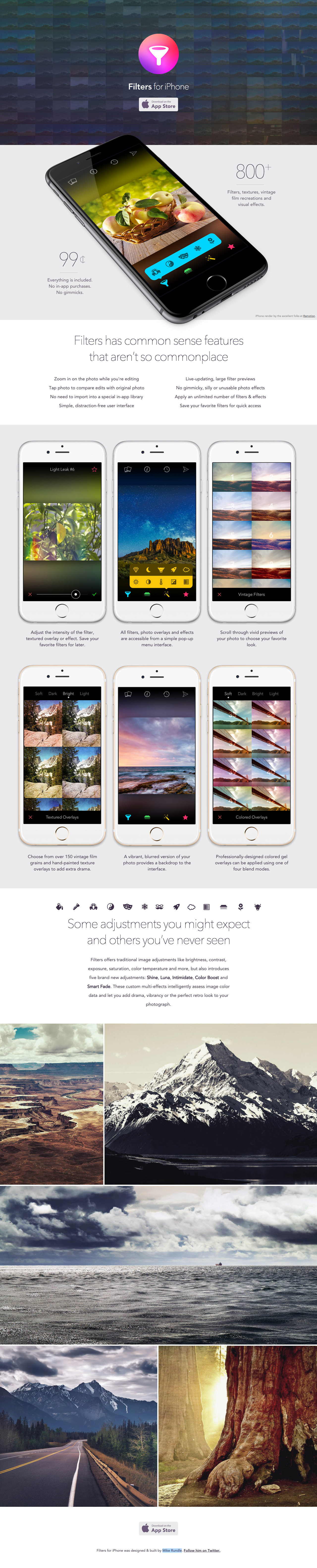 Filters for iPhone Website Screenshot