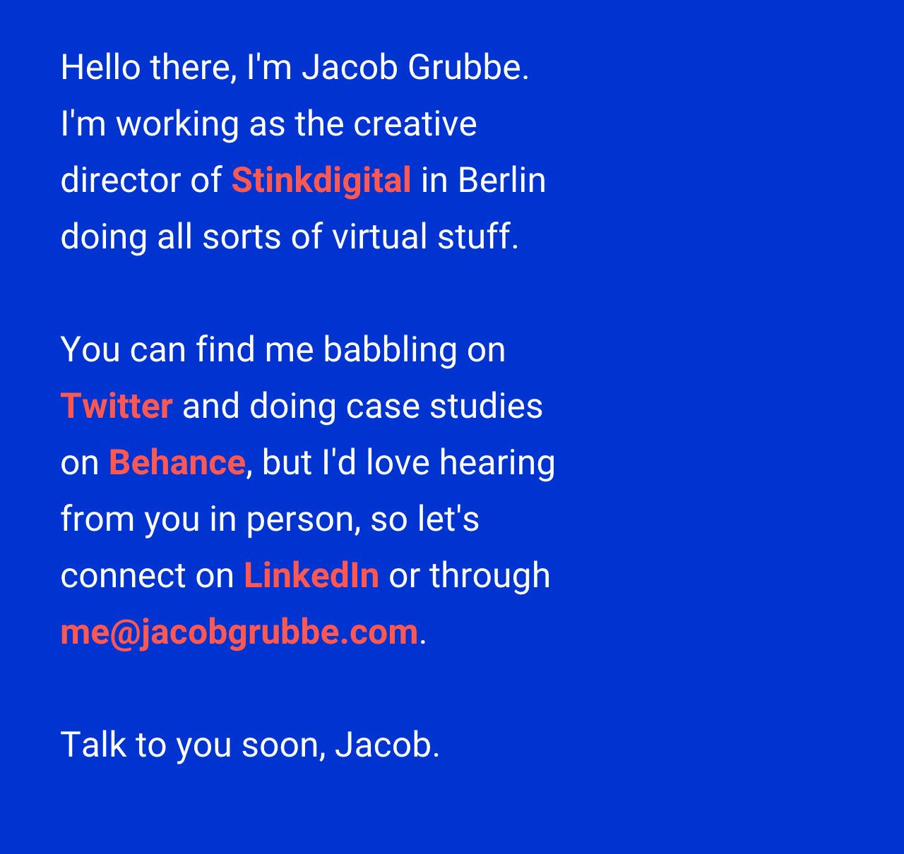 Jacob Grubbe Website Screenshot