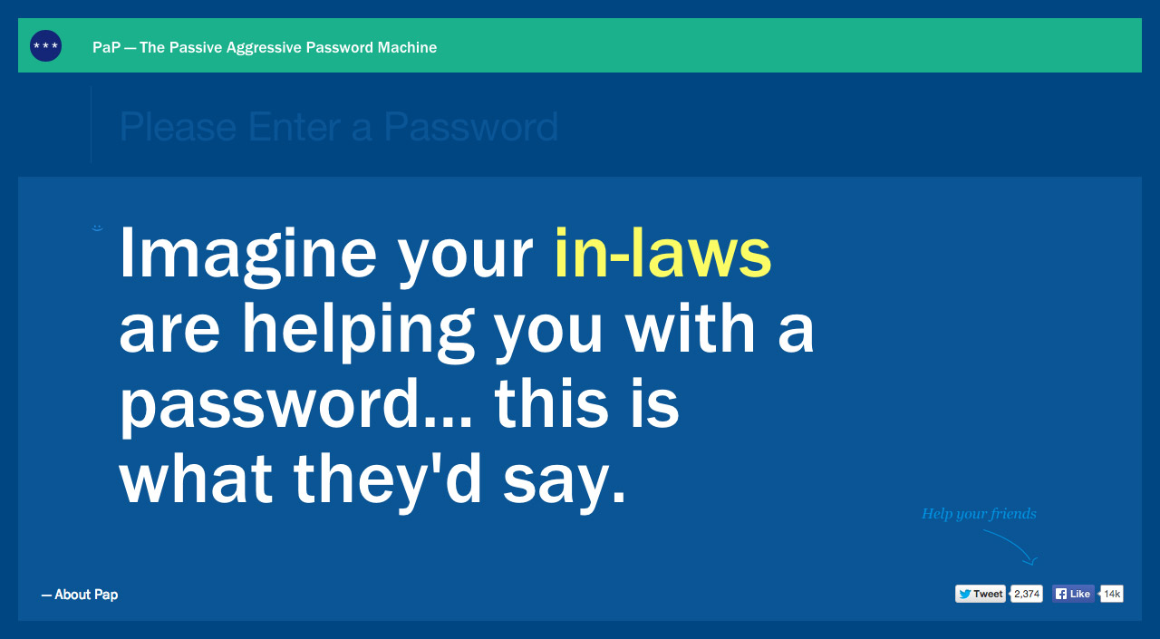 Passive Aggressive Passwords Website Screenshot