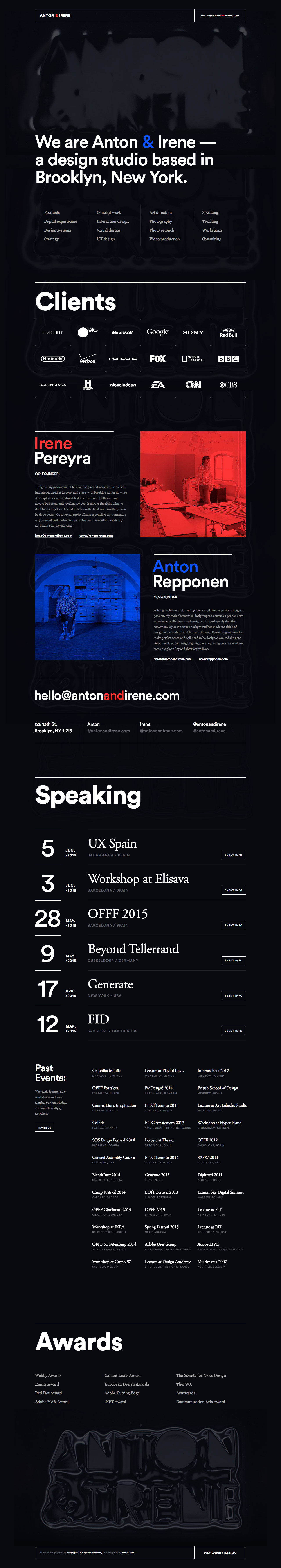 Anton & Irene Website Screenshot