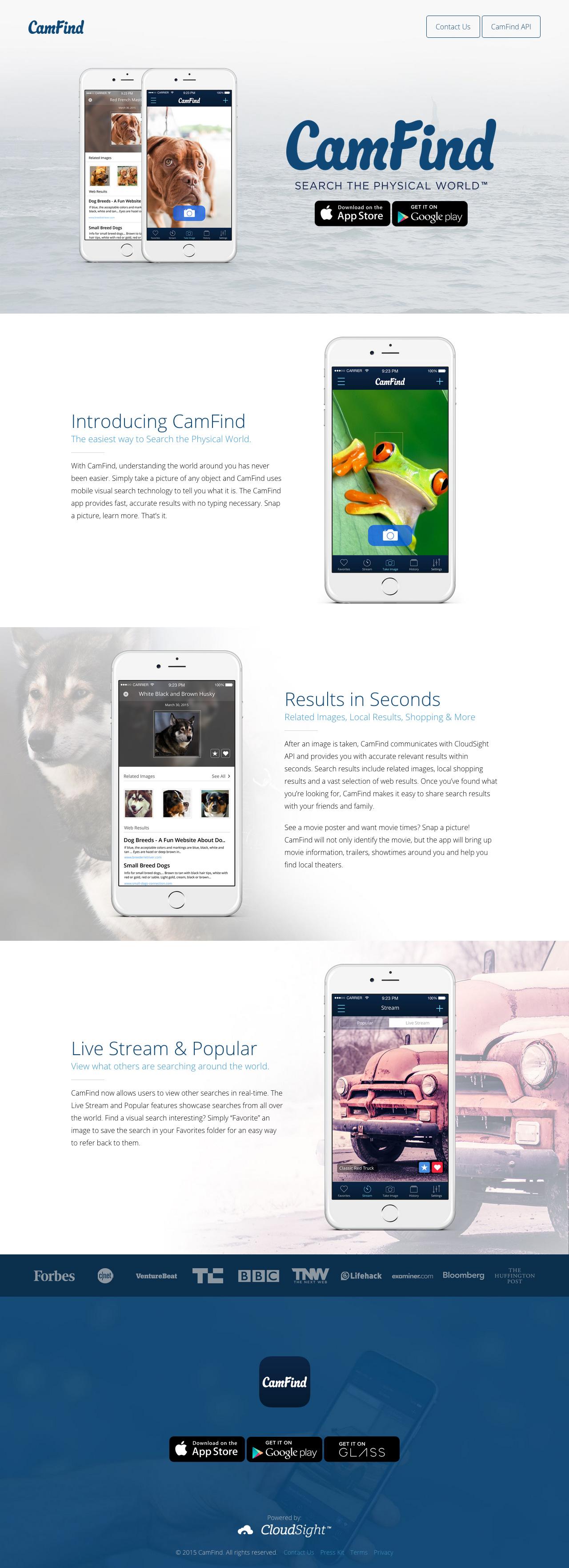 CamFind Website Screenshot