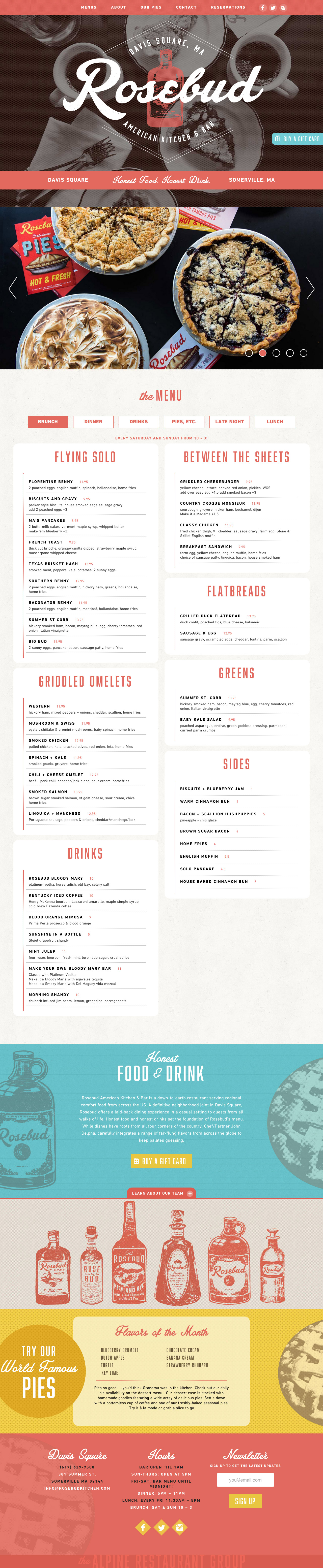 Rosebud American Kitchen & Bar Website Screenshot