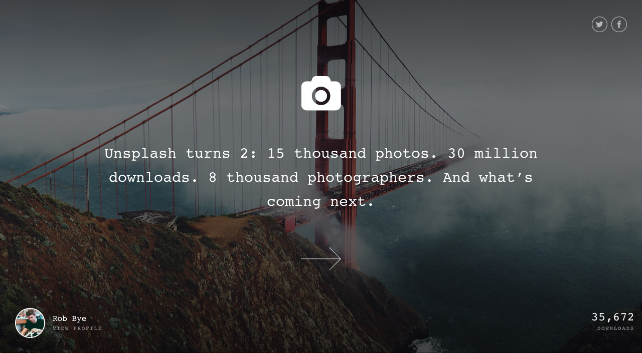 Unsplash Turns 2 Website Screenshot