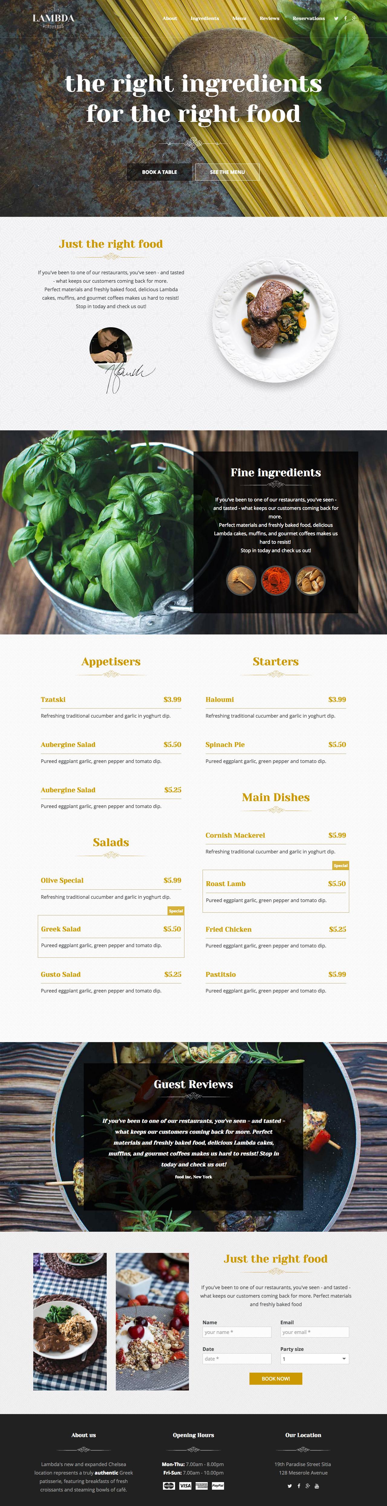 MH Restaurant Website Screenshot