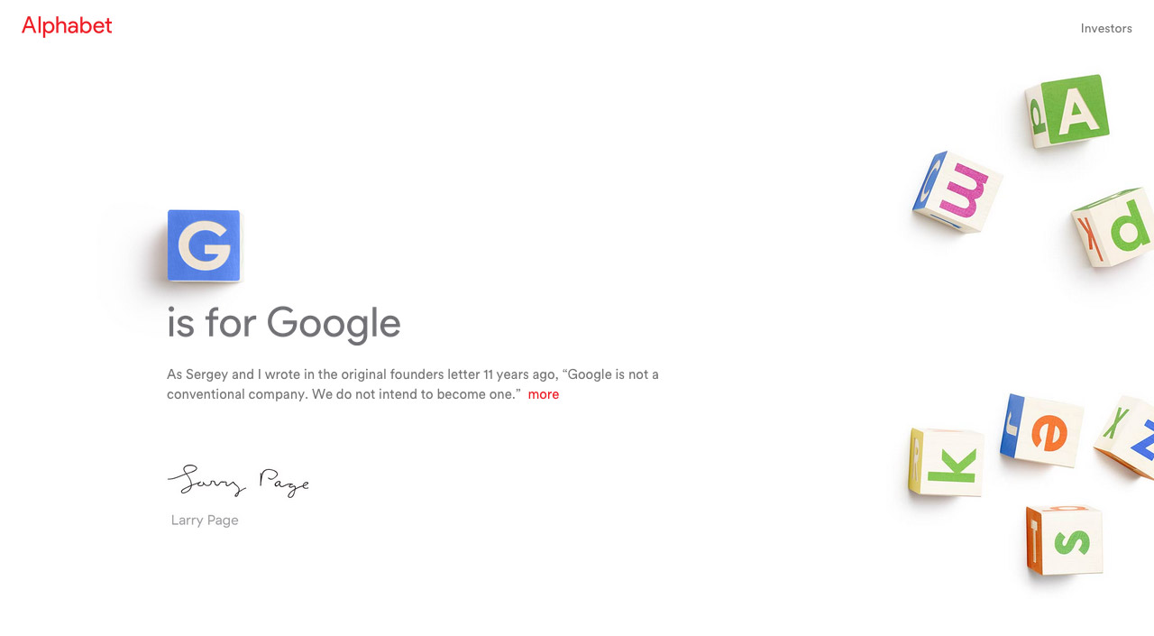 Alphabet Website Screenshot
