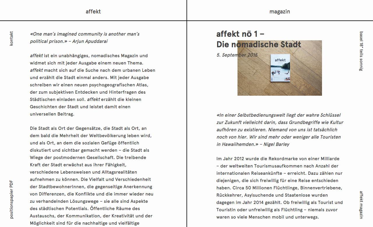 affekt – Stadtfragmente Website Screenshot