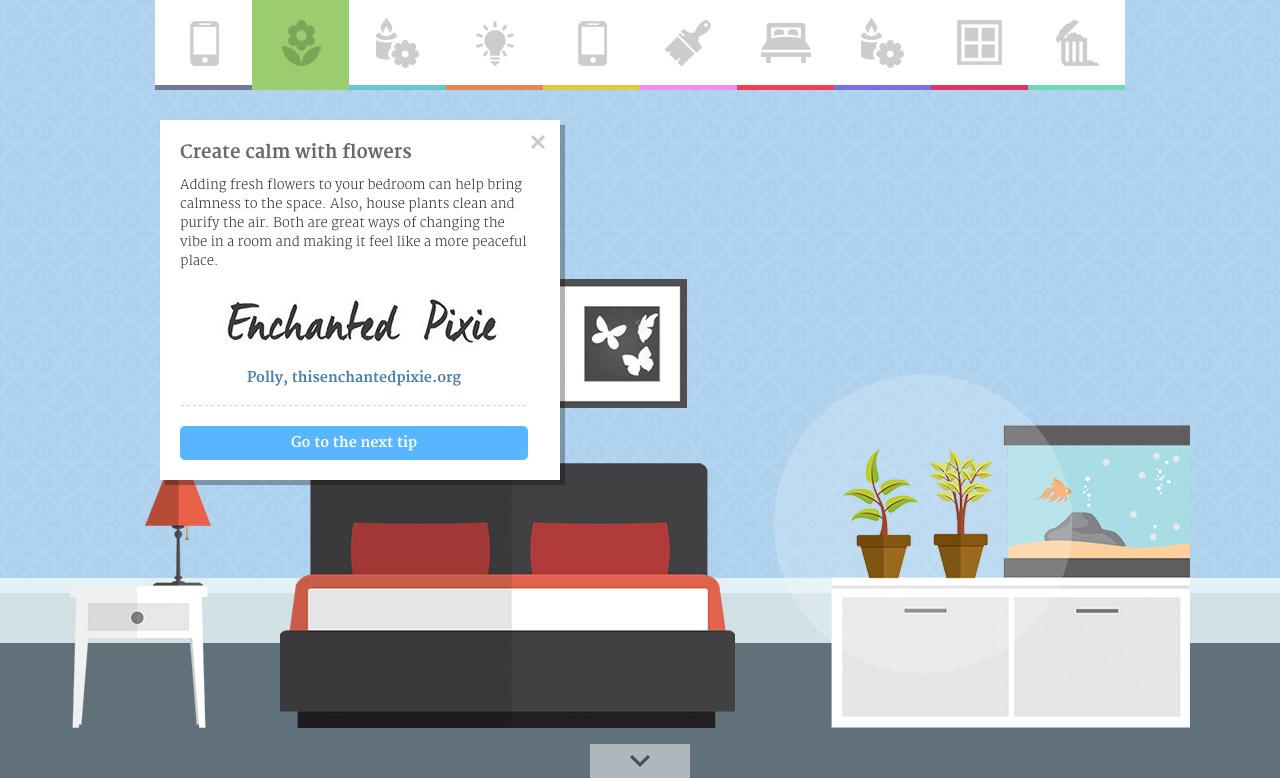 Revealing the secrets of a zen bedroom Website Screenshot