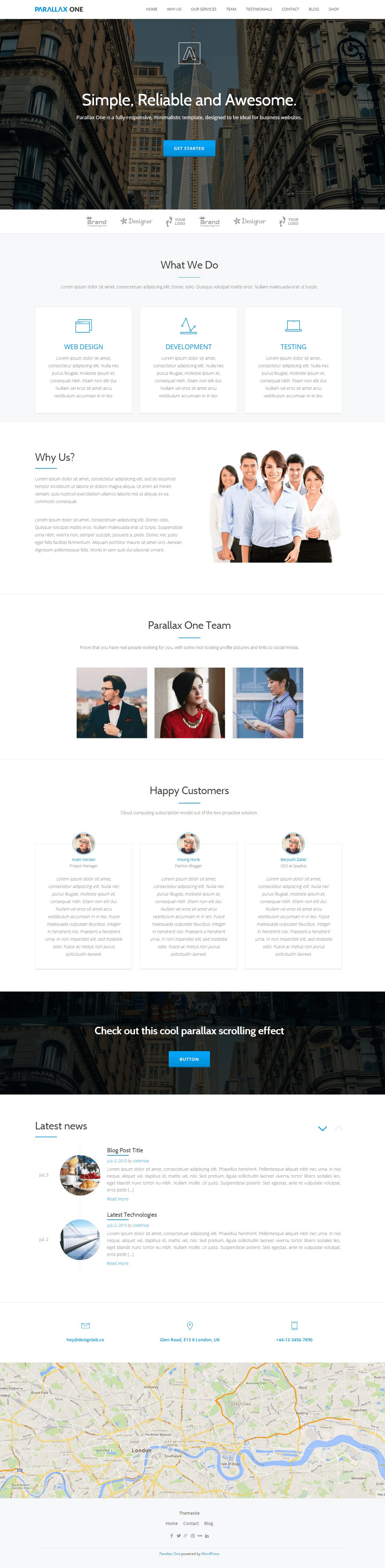 Parallax One Website Screenshot