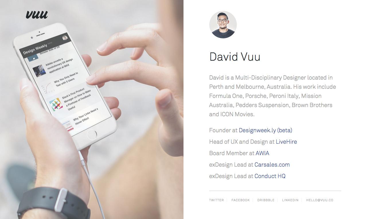 David Vuu Website Screenshot