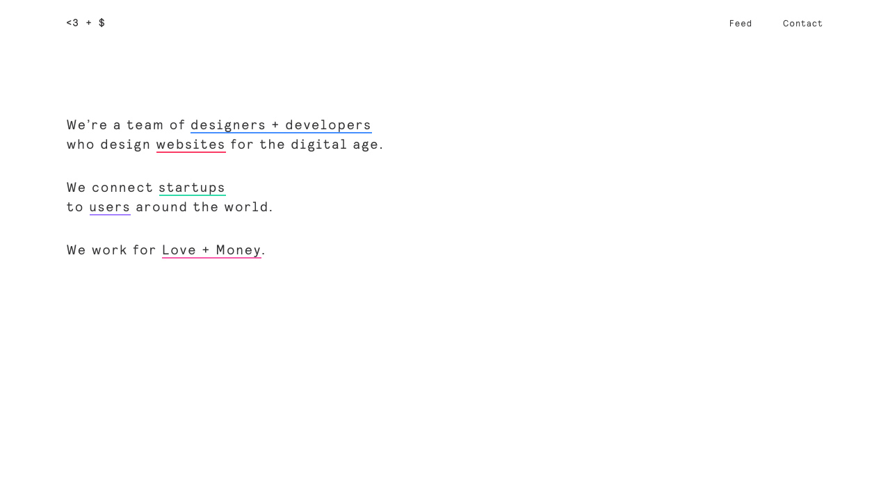 Love + Money Agency Website Screenshot