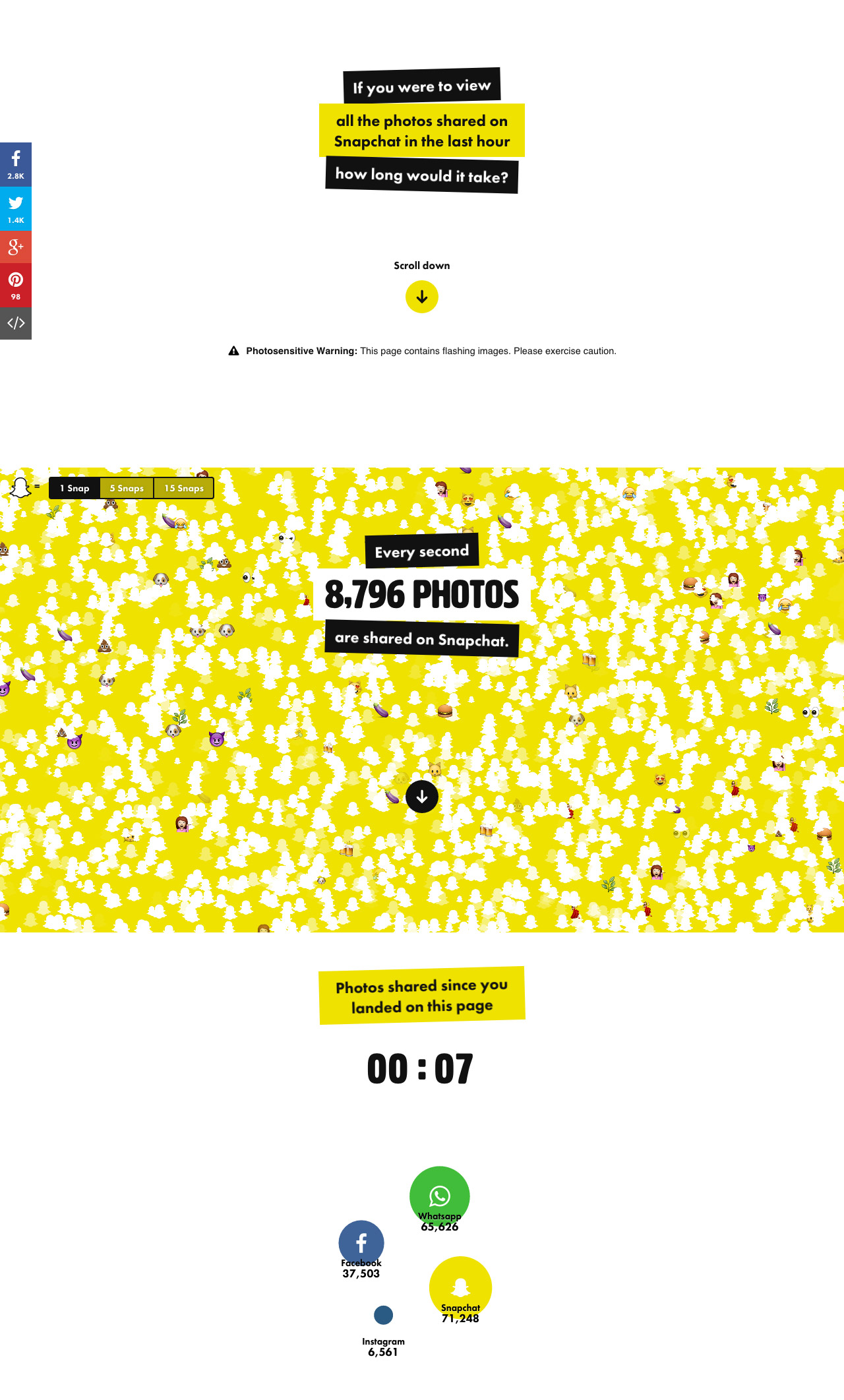 How big is Snapchat? Website Screenshot