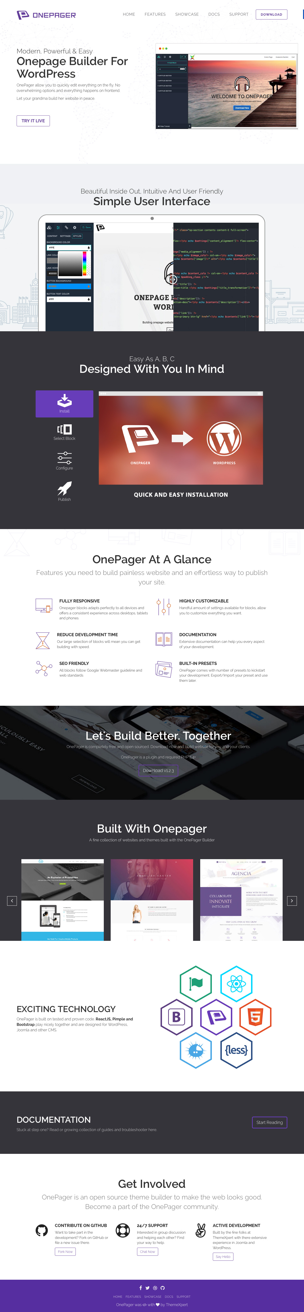 OnePage Builder Website Screenshot