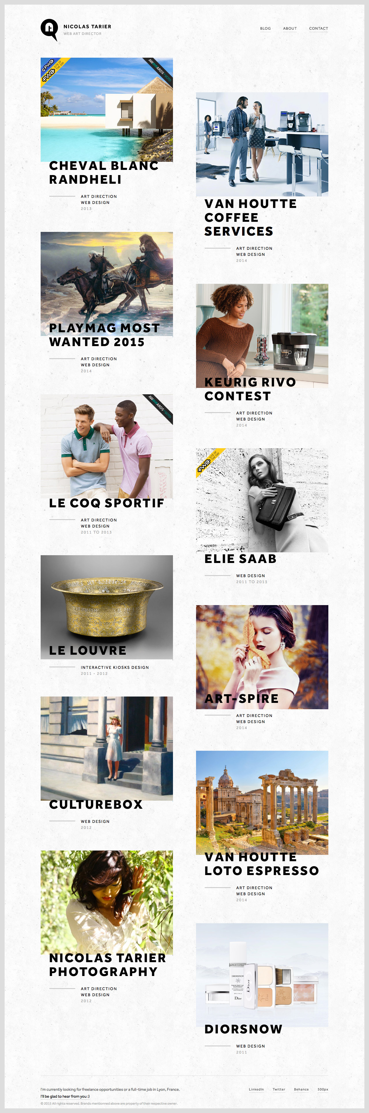 Nicolas Tarier Website Screenshot
