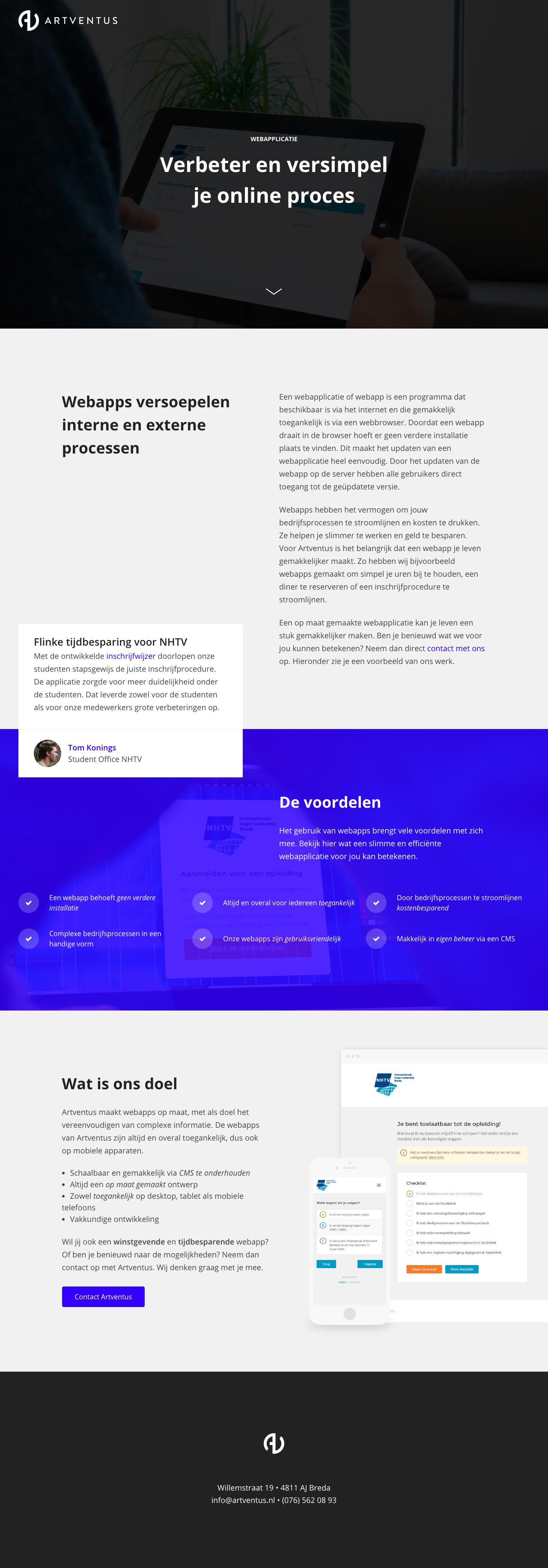 Artventus – Webapplicatie Website Screenshot
