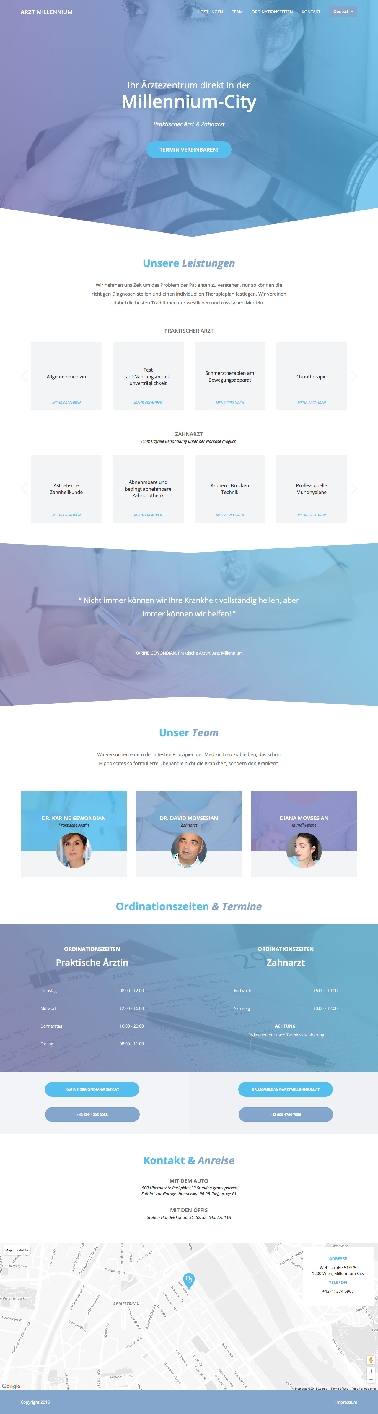 Arzt Millennium Website Screenshot