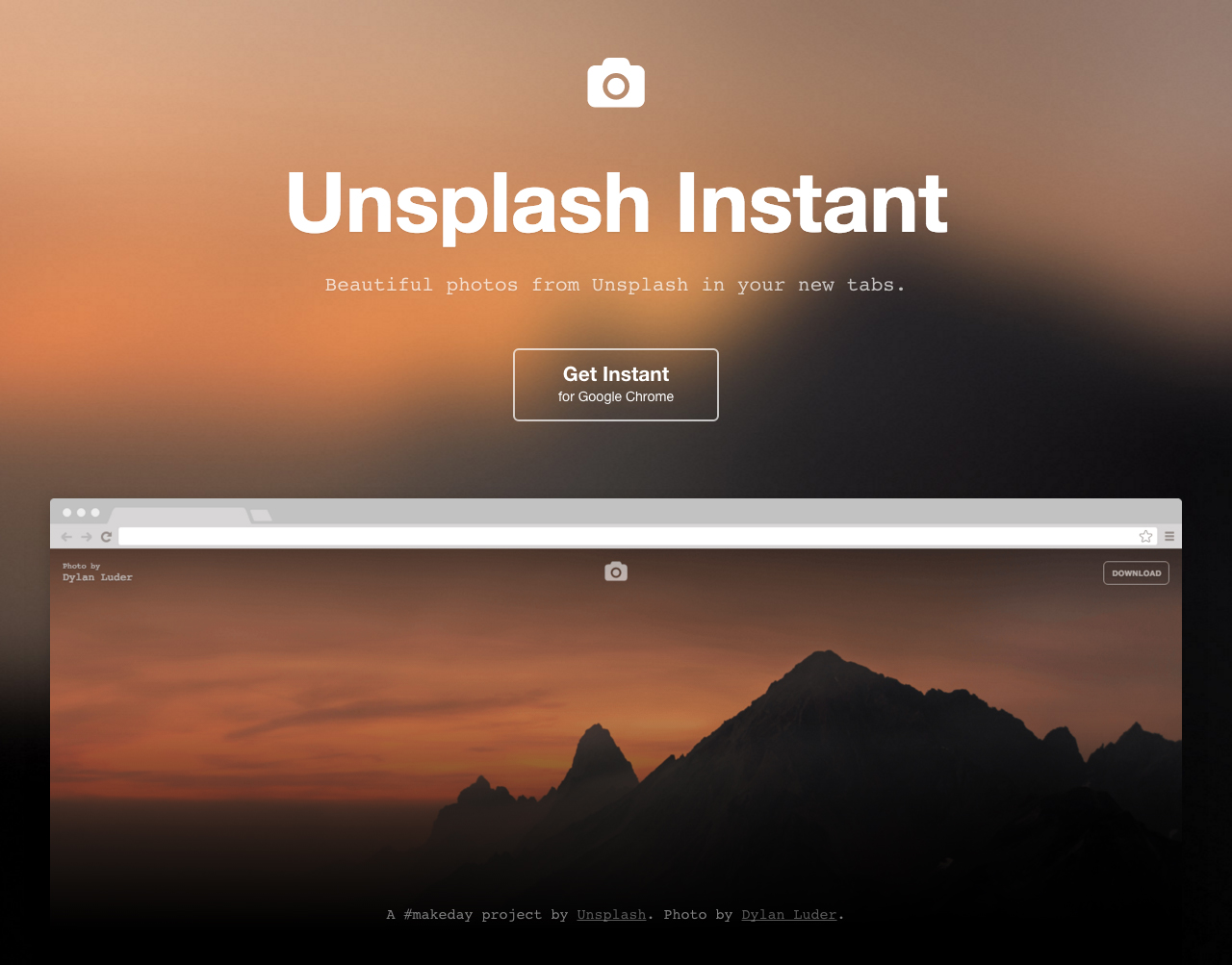 Unsplash Instant Website Screenshot