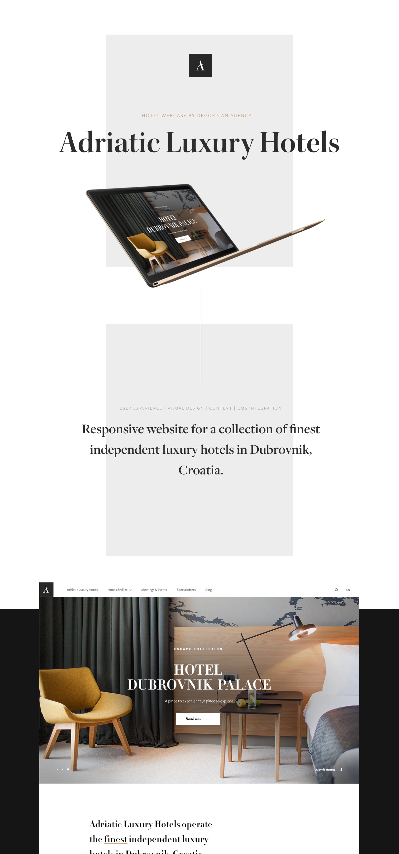 Adriatic Luxury Hotels Case Study Website Screenshot