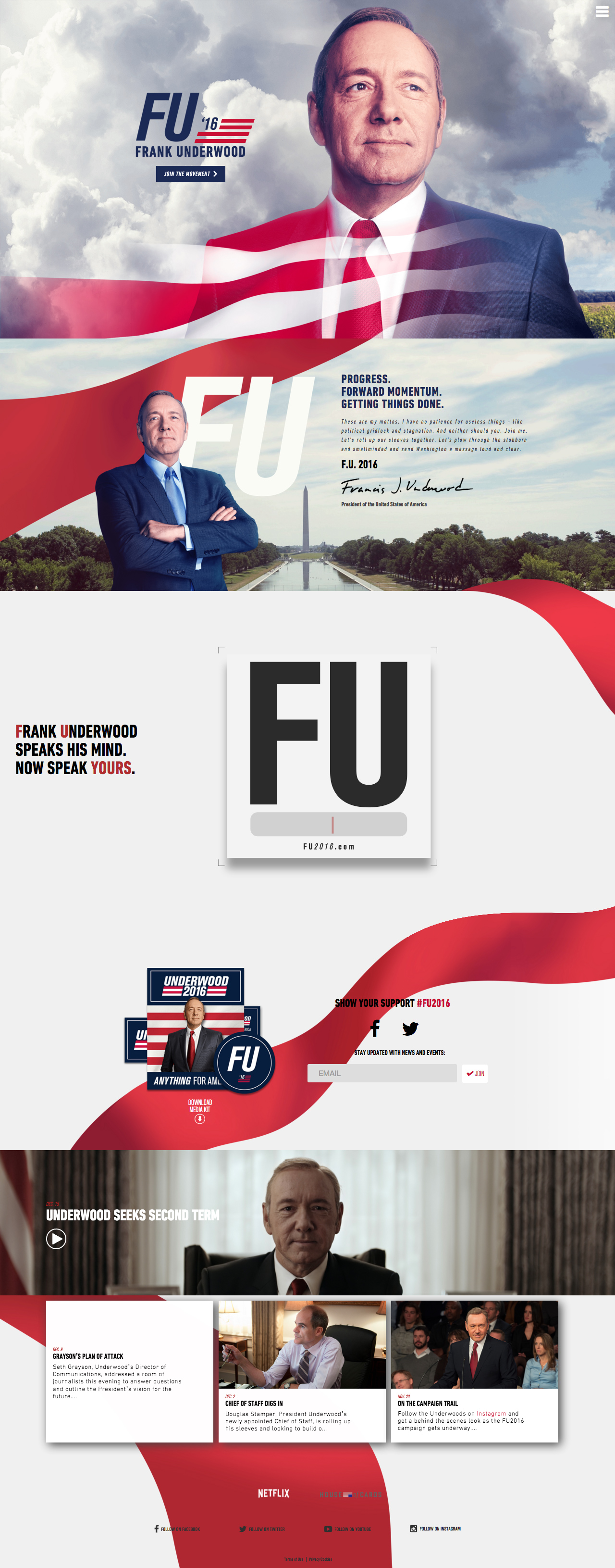 Frank Underwood 2016 Website Screenshot