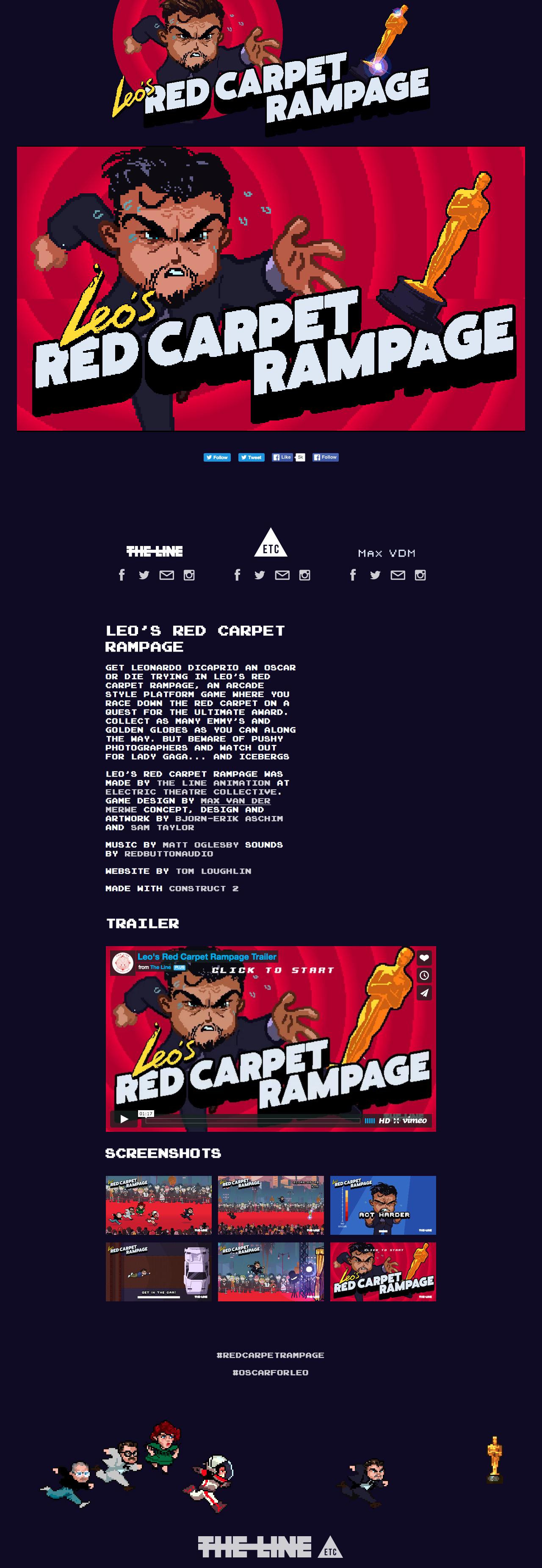 Leo's Red Carpet Rampage Website Screenshot