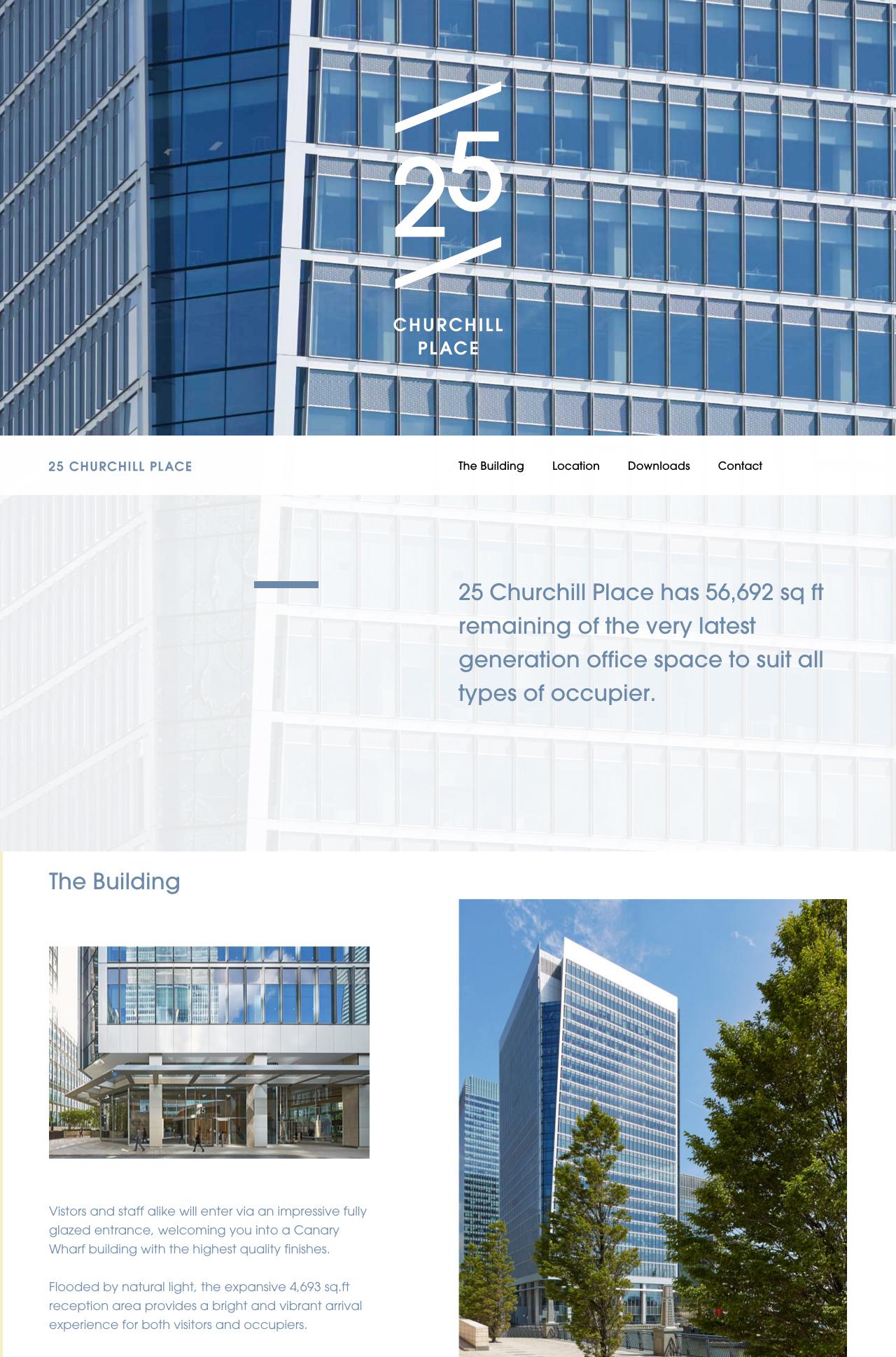 25 Churchill Place Website Screenshot