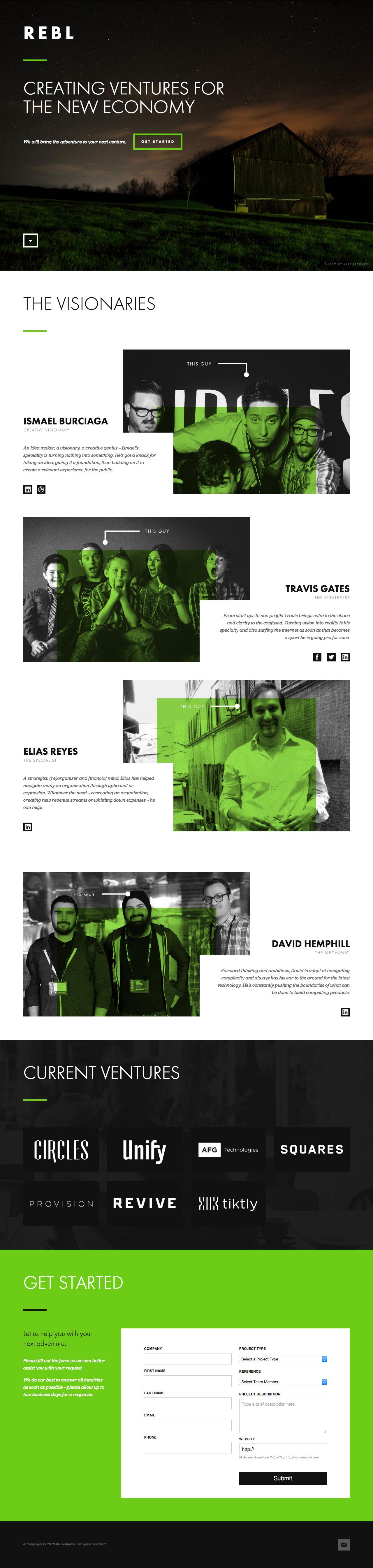 REBL Ventures Website Screenshot