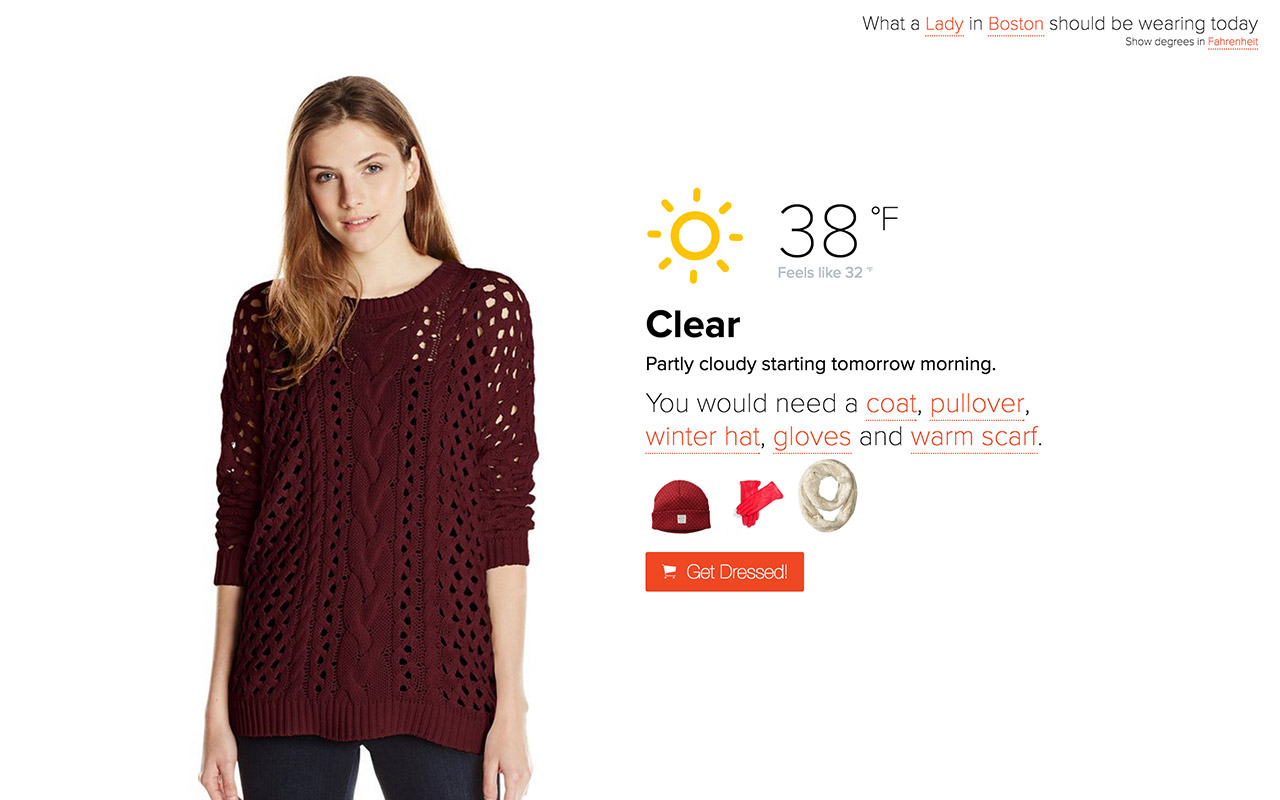 Dress By Weather Website Screenshot