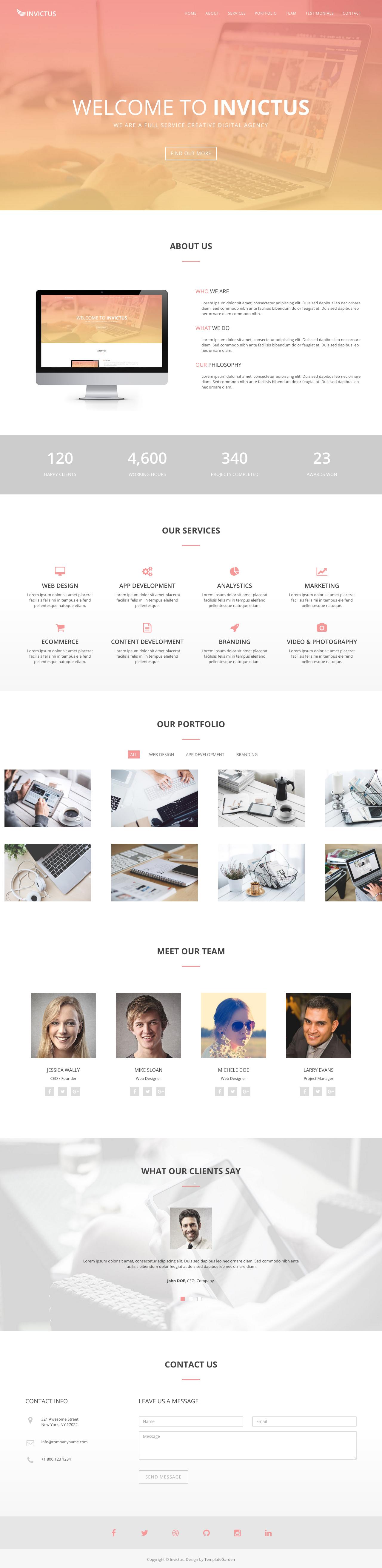 Invictus Website Screenshot