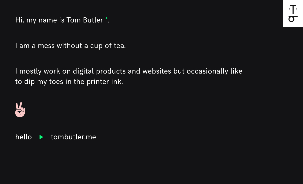 Tom Butler Website Screenshot